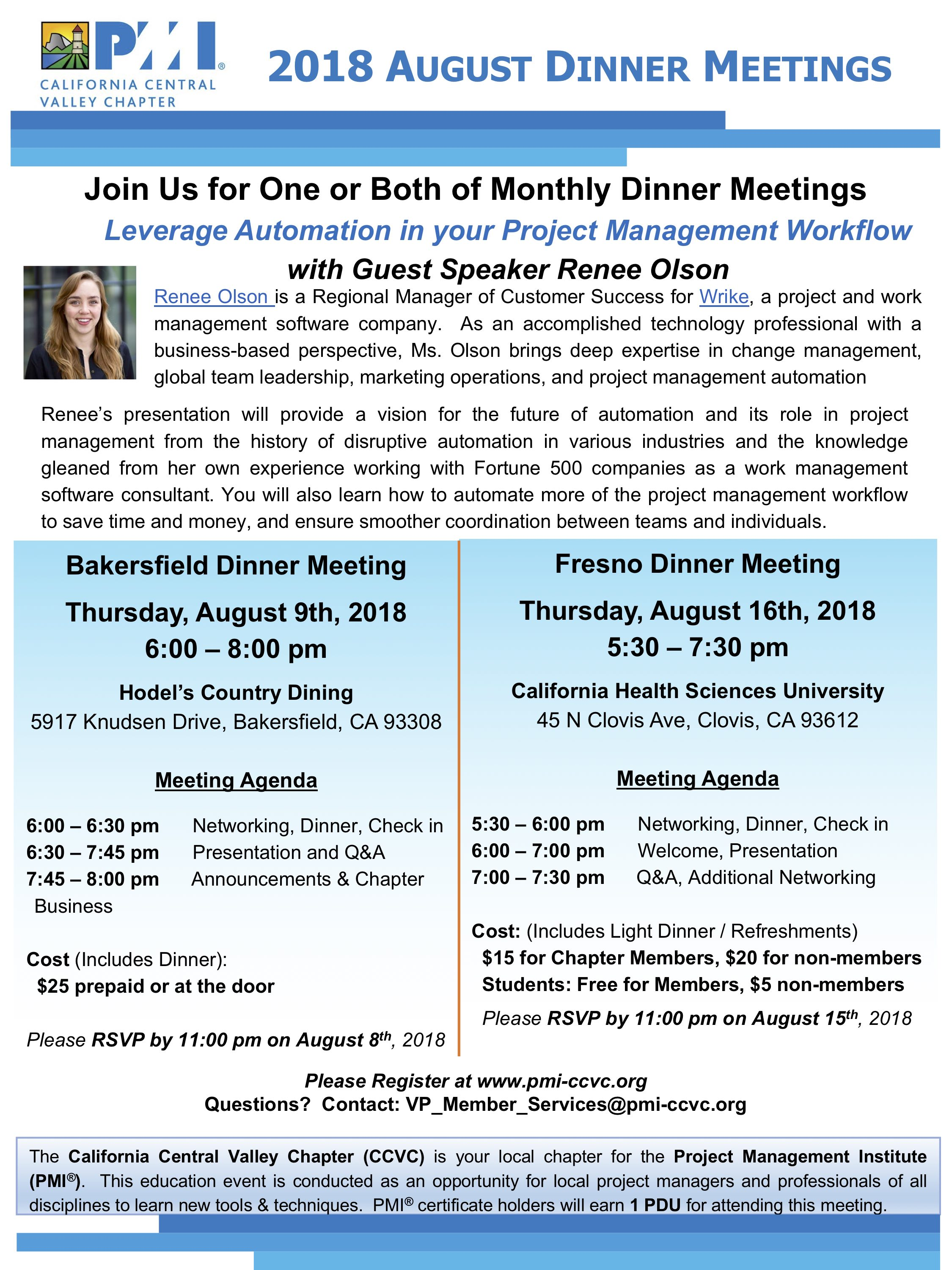August 2018 Dinner Meetings Flyer