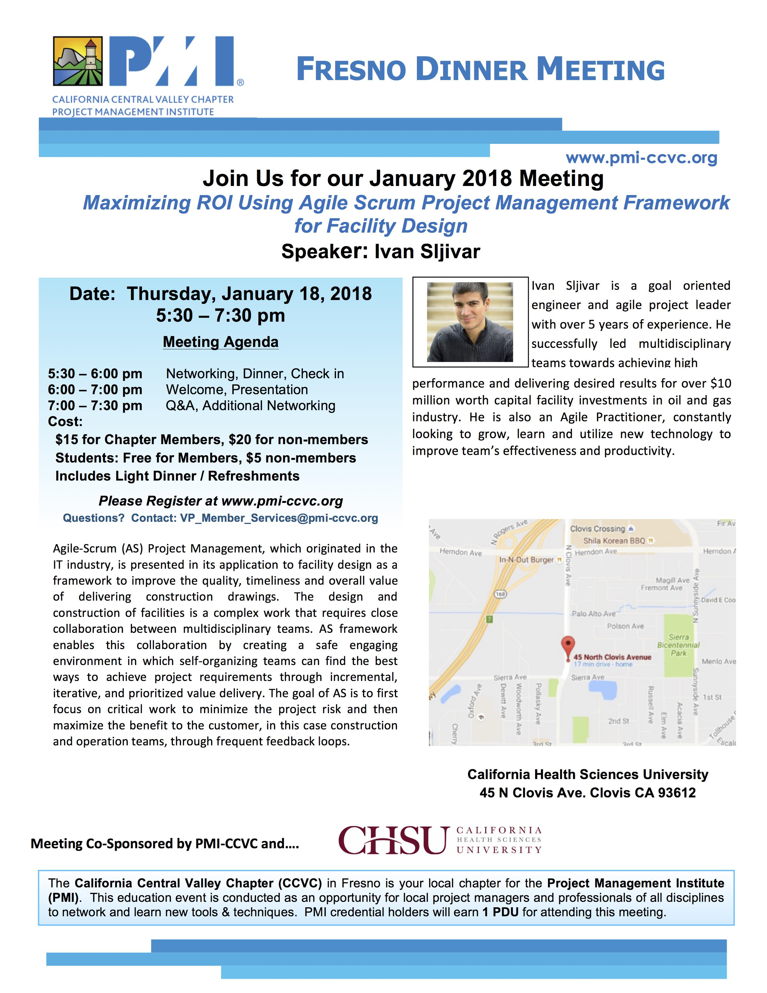 January 18 2018 Fresno Dinner Meeting Flyer