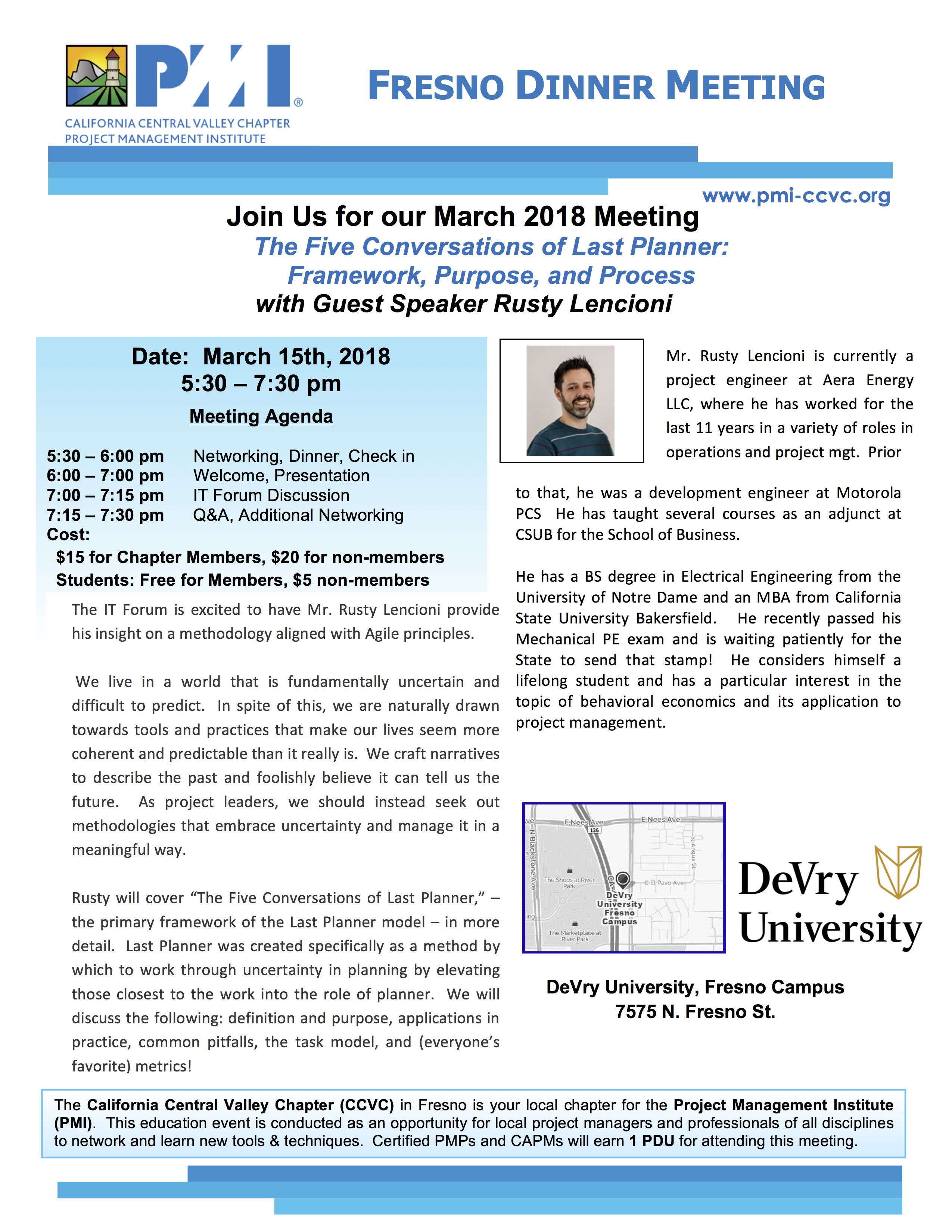March 15 2018 Fresno Dinner Meeting Flyer