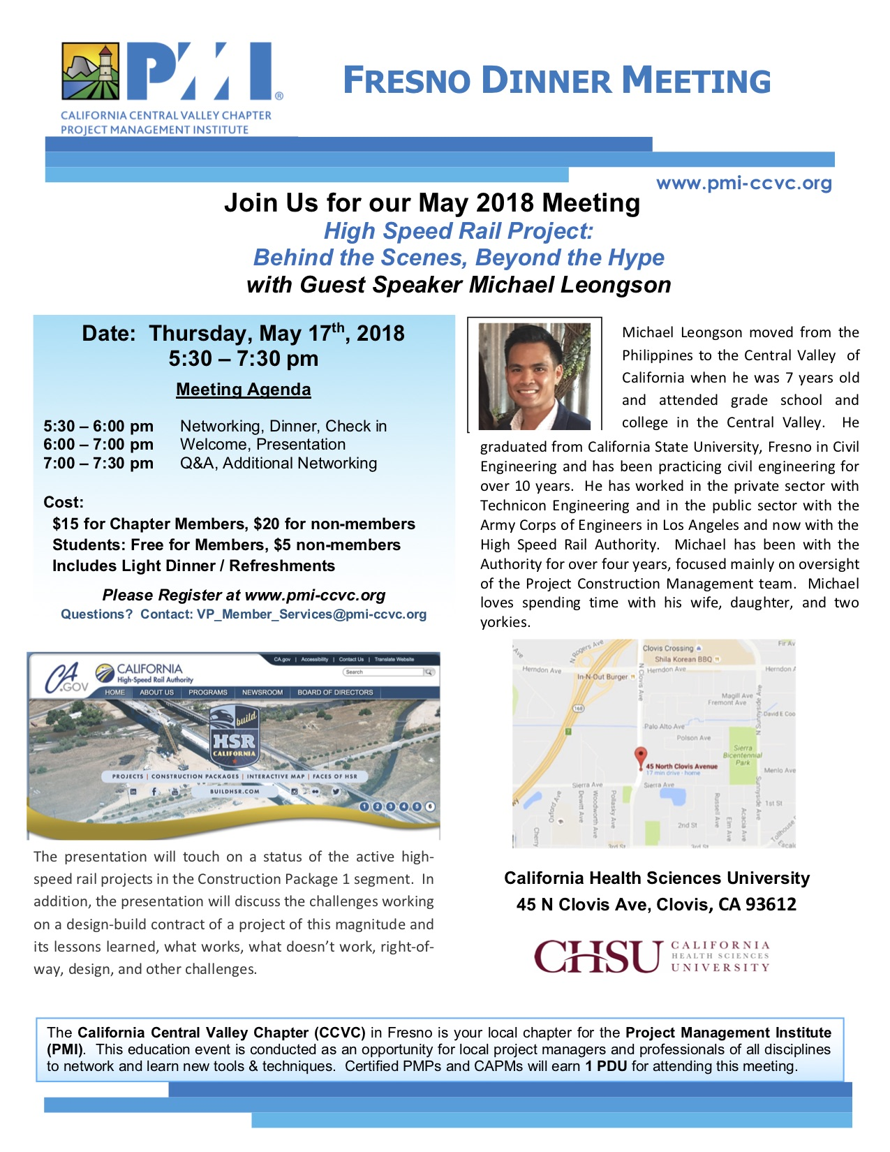 May 17th 2018 Fresno Dinner Meeting Flyer